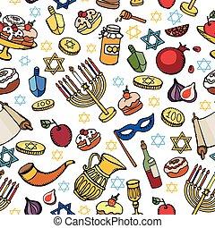 Hanukkah seamless pattern.Doodle Jewish Holiday - Hanukkah...