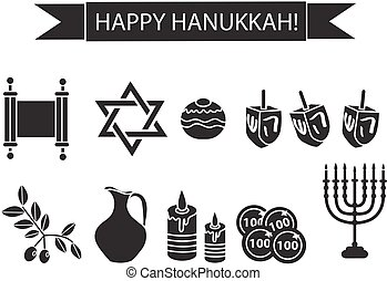 Hanukkah set black silhouette icons. Chanukah outline, silhouette Icons with Menorah, Torah, Sufganiyot, Olives and Dreidel. Happy Hanukkah Festival of Lights, symbol. Vector illyustration