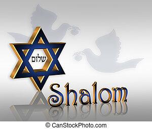 Hanukkah Shalom Jewish Background - 3D Star of David Jewish ...