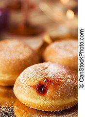 hanukkah, sufganiyot, mangiato, ebreo, donuts