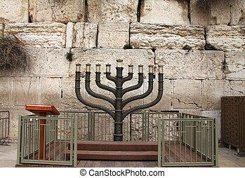 hanukkah, support, bougie, juif