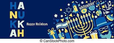 hanukkah, symbols., bandera, feriado, judío, tradicional, ...