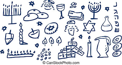 Hanukkah Symbols Doodles - A pack of vector illustrations of...