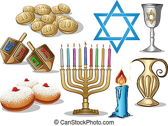 A pack of Vector illustrations of famous symbols for the Jewish Holiday Hanukkah.