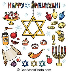Hanukkah symbols.Doodle colored Jewish Holiday set -...