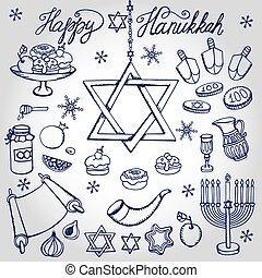 Hanukkah symbols.Doodle linearJewish Holiday set - Hanukkah...