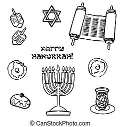 hanukkah, tradicional, iconset