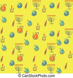Hanukkah traditional jewish holiday symbols set. Vector collection of labels and elements for jewish holiday