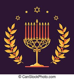 Hanukkah Vector card - Happy Hanukkah greeting inscription....
