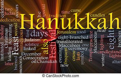 Word cloud concept illustration of Hanukkah Jewish celebration glowing light effect