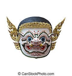 hanuman, 面罩, 在, khon, 泰國, 古典的風格, ......的, ramayana, 故事
