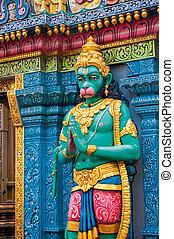 hanuman, estatua, en, sri, krishnan, templo, singapur