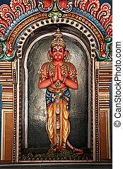 Hanuman statue in Hindu Temple. Sri Ranganathaswamy Temple. ...