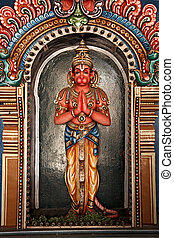Hanuman statue in Hindu Temple. Sri Ranganathaswamy Temple....