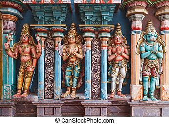 hanuman, statuen, tempel, hindu
