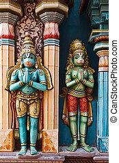 Hanuman statues in Hindu Temple. Sri Ranganathaswamy Temple....
