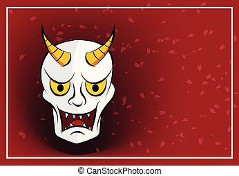 Hanya mask on red background with sakura, vector