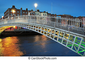 Ha`penny bridge and river Liffey at night (blue hour) in Dublin