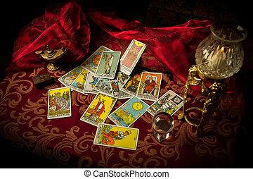 haphazardly, verspreid, tarot, propageren, kaarten, tafel