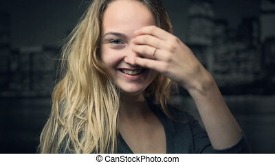 Hapiness of Blonde Girl - A studio shot of young happy...