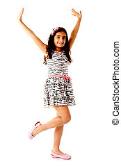 Happ Child like a model over white background