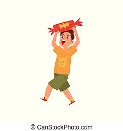 Happe little boy holding a giant piece of candy - cartoon child jumping with joy