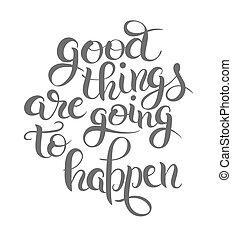 happen, lettering, goed, samenstelling, spullen, positief, ...