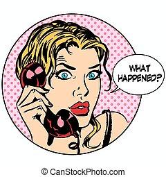 happens, cosa, affari donna, sostegno, domanda, telefono,...