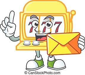 Happily golden slot machine mascot design style with envelope