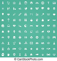 happiness 100 icons universal set for web and UI