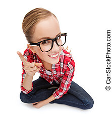 smiling teenager in eyeglasses with finger up - happiness ...