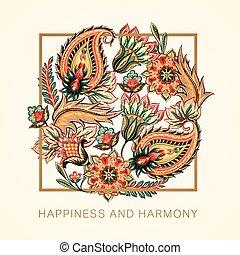 Happiness and harmony - Oriental paisley decorative...