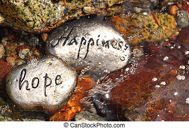 Happiness and Hope rocks - two rocks with hope and happiness...