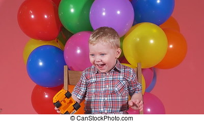 Happiness and joy of a child. little boy laughing and smiling at the camera.
