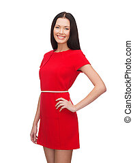 smiling young woman in red dress