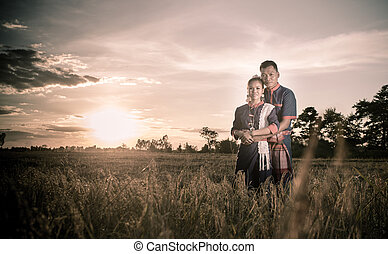 Happiness and romantic Scene of love couples partners on the rice field (Vintage style)