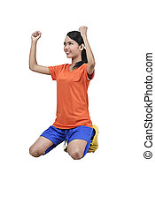 Happiness asian female soccer player celebrate