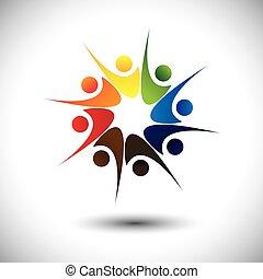 happiness., begriff, &, freude, angestellte, teilen, friends...
