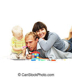 Happiness child with parents paint