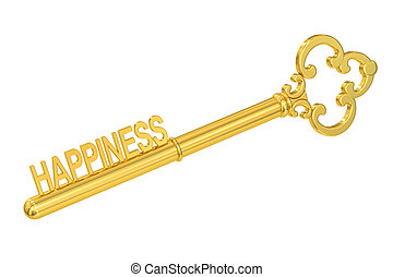Happiness concept with golden key, 3D rendering