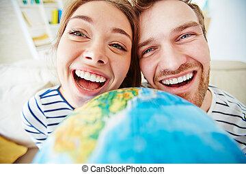 Happiness - Ecstatic dates looking at camera