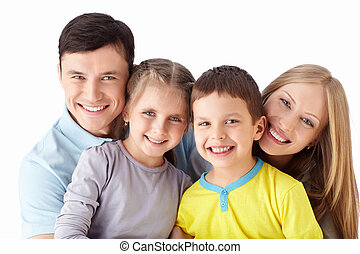 Happiness - Families with children on a white background