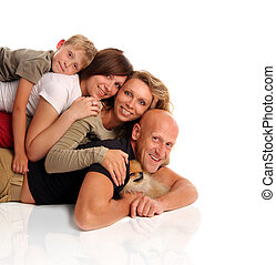 Happiness family with a dog 3
