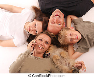 Happiness family with a dog