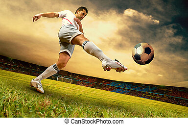 Happiness football player on field of olimpic stadium on ...