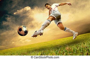 Happiness football player on field of olimpic stadium on...