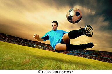 Happiness football player on field of olimpic stadium on sunrise sky