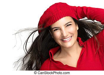happiness., freudig, winter, m�dchen, in, red., fliegenden haar