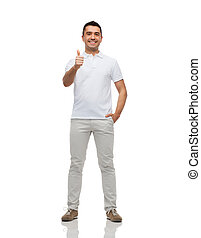 smiling man showing thumbs up