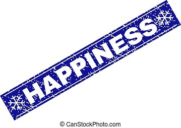 HAPPINESS Grunge Rectangle Stamp Seal with Snowflakes
